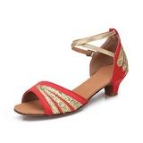 Mulheres Crianças Cetim Espumante Glitter Saltos Sandálias Latino com Correia de Calcanhar Sapatos de dança (053052428)