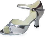 Женщины Атлас Лакированная кожа На каблуках Сандалии Латино с Ремешок на щиколотке Обувь для танцев (053021591)
