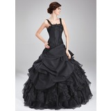 Ball-Gown Square Neckline Floor-Length Taffeta Organza Quinceanera Dress With Beading Appliques Lace Cascading Ruffles (021018812)