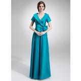 Трапеция/Принцесса V-образный Длина до пола Тафта Платье Для Матери Невесты с Рябь Бант(ы) (008006023)