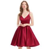 A-Line V-neck Knee-Length Satin Prom Dresses (018133420)