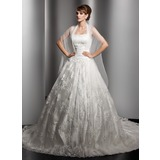 Ball-Gown Chapel Train Lace Wedding Dress With Ruffle Beading (002000180)