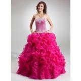 De baile Sem Alças Longos Organza de Vestido quinceanera com Bordado Apliques de Renda Lantejoulas Babados em cascata (021016752)