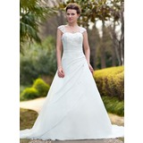 Ball-Gown Sweetheart Chapel Train Chiffon Wedding Dress With Ruffle Lace Beading (002011638)