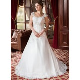 Vestidos princesa/ Formato A Coração Cauda de sereia Cetim Organza de Vestido de noiva com Pregueado Bordado Apliques de Renda (002000152)