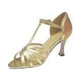 Женщины Атлас кожа На каблуках Сандалии Латино с Т-ремешок Обувь для танцев (053013019)