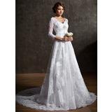 Трапеция/Принцесса V-образный Церемониальный шлейф Тюль кружева Свадебные Платье с Бисер блестками (002004758)