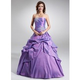Ball-Gown Strapless Floor-Length Taffeta Quinceanera Dress With Ruffle Beading Appliques Lace Sequins (021003123)