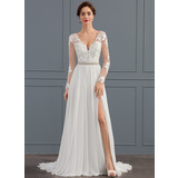 A-Line/Princess V-neck Sweep Train Chiffon Wedding Dress With Beading Sequins Split Front (002134406)