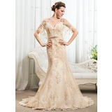 Trompete/Sereia Off-the-ombro Cauda longa Renda Vestido de noiva com Beading lantejoulas (002056206)