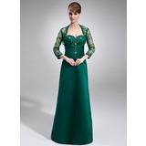 Vestidos princesa/ Formato A Coração Sweep/Brush trem Cetim Vestido para a mãe da noiva com Pregueado Renda Bordado (008006213)