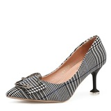 Women's Fabric Kitten Heel Pumps Closed Toe With Buckle shoes (085186676)