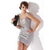 Sheath/Column Sweetheart Short/Mini Charmeuse Cocktail Dress With Ruffle Beading (002024407)