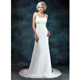 Empire Scoop Neck Court Train Chiffon Wedding Dress With Ruffle Beading (002001673)