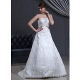 Vestidos princesa/ Formato A Sem Alças Cauda de sereia Renda Vestido de noiva com Cintos Bordado Curvado (002000500)