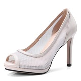 Women's Mesh Spool Heel Peep Toe Pumps (047185290)