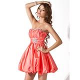 Vestidos princesa/ Formato A Coração Curto/Mini Tafetá Vestido de boas vindas com Pregueado Bordado (022013951)