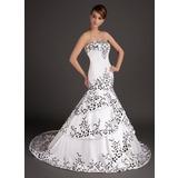 Раструб/Платье-русалка В виде сердца Sweep/Щетка поезд Атлас Свадебные Платье с Вышито (002015509)