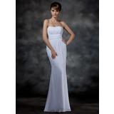 Trompete/Sereia Coração Longos De chiffon Vestido de festa com Pregueado (017022546)