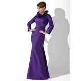 Trompete/Sereia Gola alta Longos Tafetá Vestido para a mãe da noiva com Pregueado (008006080)