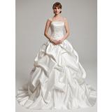 Платье для Балла Без лямок Церковный шлейф Шармёз Свадебные Платье с Рябь Бисер (002017555)