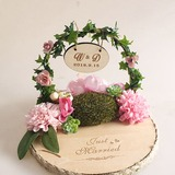 Personalized Wood Ring Holder With Artifical Flower (103203885)