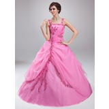 Duchesse-Linie Rechteckiger Ausschnitt Bodenlang Organza Quinceañera Kleid (Kleid für die Geburtstagsfeier) mit Rüschen Perlen verziert Applikationen Spitze (021018807)