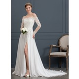 A-Line/Princess Off-the-Shoulder Court Train Chiffon Wedding Dress With Beading Sequins Split Front (002171942)