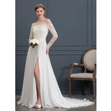 Corte A Off-the-ombro Cauda de sereia Tecido de seda Vestido de noiva com Beading lantejoulas Frente aberta (002171942)