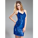 Платье-чехол Провиснутый Мини-платье С блестками Коктейльные Платье (016019110)