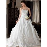 De baile Coração Trem real Cetim Vestido de noiva com Bordados Pregueado Bordado (002033766)