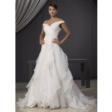 A-Line/Princess Off-the-Shoulder Chapel Train Organza Wedding Dress With Lace Beading Cascading Ruffles (002014481)