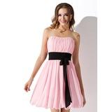 Empire Sweetheart Short/Mini Chiffon Homecoming Dress With Ruffle Sash Bow(s) (022010736)