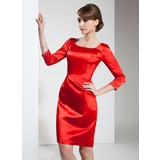 Платье-чехол квадратный вырез Длина до колен Шармёз Коктейльные Платье с Бисер (016021239)