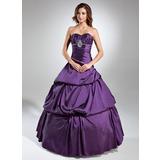 De baile Coração Longos Tafetá Vestido quinceanera com Pregueado Bordado (021020608)