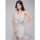 Sheath/Column Halter Short/Mini Jersey Cocktail Dress With Ruffle Beading (022010873)