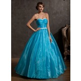De baile Coração Longos Organza de Vestido quinceanera com Pregueado Apliques de Renda (021014937)