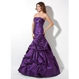 Trumpet/Mermaid Strapless Floor-Length Taffeta Prom Dresses With Ruffle (018017414)