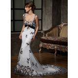 Trompete/Sereia Coração Cauda longa Tule Vestido de noiva com Renda Pino flor crystal (002000324)