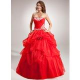 De baile Coração Longos Organza de Vestido quinceanera com Pregueado Apliques de Renda fecho de correr (021016386)