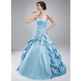 Ball-Gown Sweetheart Floor-Length Taffeta Tulle Quinceanera Dress With Ruffle Beading (021004692)