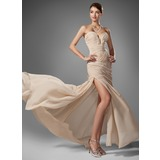 Trumpet/Mermaid Sweetheart Sweep Train Chiffon Prom Dresses With Ruffle Beading Split Front (018005251)