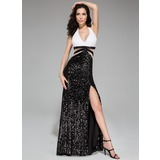 Trompete/Sereia Cabresto Sweep/Brush trem Lantejoulas Vestido de baile com Renda Beading Frente aberta (018046222)
