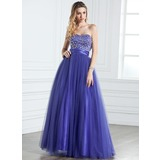 A-Line/Princess Sweetheart Floor-Length Tulle Quinceanera Dress With Ruffle Beading (021005316)
