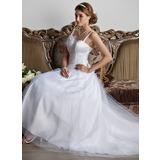 Vestidos princesa/ Formato A Coração Cauda de sereia Tule Vestido de noiva com Pregueado fecho de correr (002013798)