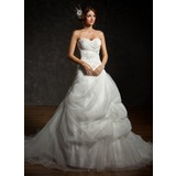 De baile Coração Cauda longa Cetim Organza de Vestido de noiva com Pregueado Bordado Apliques de Renda Lantejoulas (002012604)