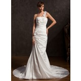 Trompete/Sereia Um ombro Cauda longa Tafetá Vestido de noiva com Pregueado Renda fecho de correr (002015177)