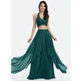 Corte A Cabresto Longos Tecido de seda Vestido de baile com Renda (018175910)