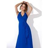 Vestidos princesa/ Formato A Cabresto Longuete De chiffon Vestido de festa com Babados em cascata (017013727)