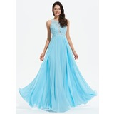 A-Line Scoop Neck Floor-Length Chiffon Prom Dresses With Beading (018175904)